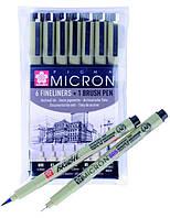 Набор лайнеров Sakura Pigma Micron 6 шт + Pigma Brush