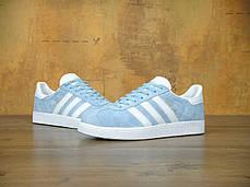 Женские кроссовки Adidas Gazelle Light Blue , фото 3