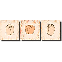 Модульная картина с тюльпанами ТЮЛЬПАНЫ из 3 модулей