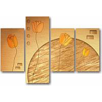 Модульная картина с тюльпанами НЕОБЫКНОВЕННЫЕ ТЮЛЬПАНЫ из 4 модулей