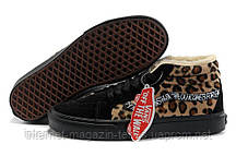 Зимние женские кеды Vans Black/Leopard С МЕХОМ