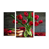 Модульная картина с тюльпанами КРАСНЫЕ ТЮЛЬПАНЫ из 3 фрагментов