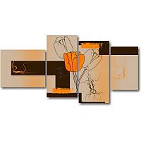 Модульная картина с тюльпанами ТРИ ТЮЛЬПАНА из 4 фрагментов (510 х 890 мм)