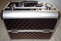 Чемодан для косметики алюминиевый (brown / коричневый с узором), фото 1