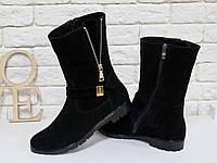 Высокие женские Ботинки черного цвета из натуральной замши, Коллекция Осень-Зима, Б-150
