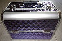 Чемодан для косметики алюминиевый (violet / фиолетовый, тёмно-лиловый с узором), фото 1