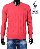 Яркий мужской пуловер c v-вырезом,коралловый  Ralph Lauren-110