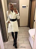 Женское стеганное осене-зимнее пальто 654 кэт