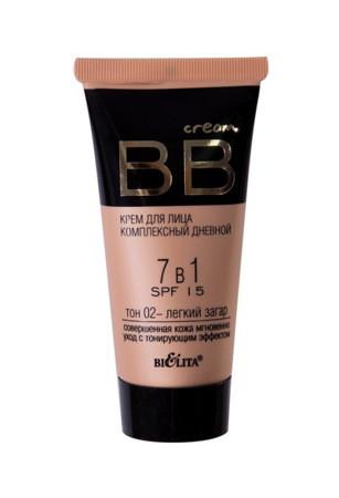 BB cream - крем для лица комплексный дневной 7 в 1 SPF15, тон 02 - легкий загар, 30 мл