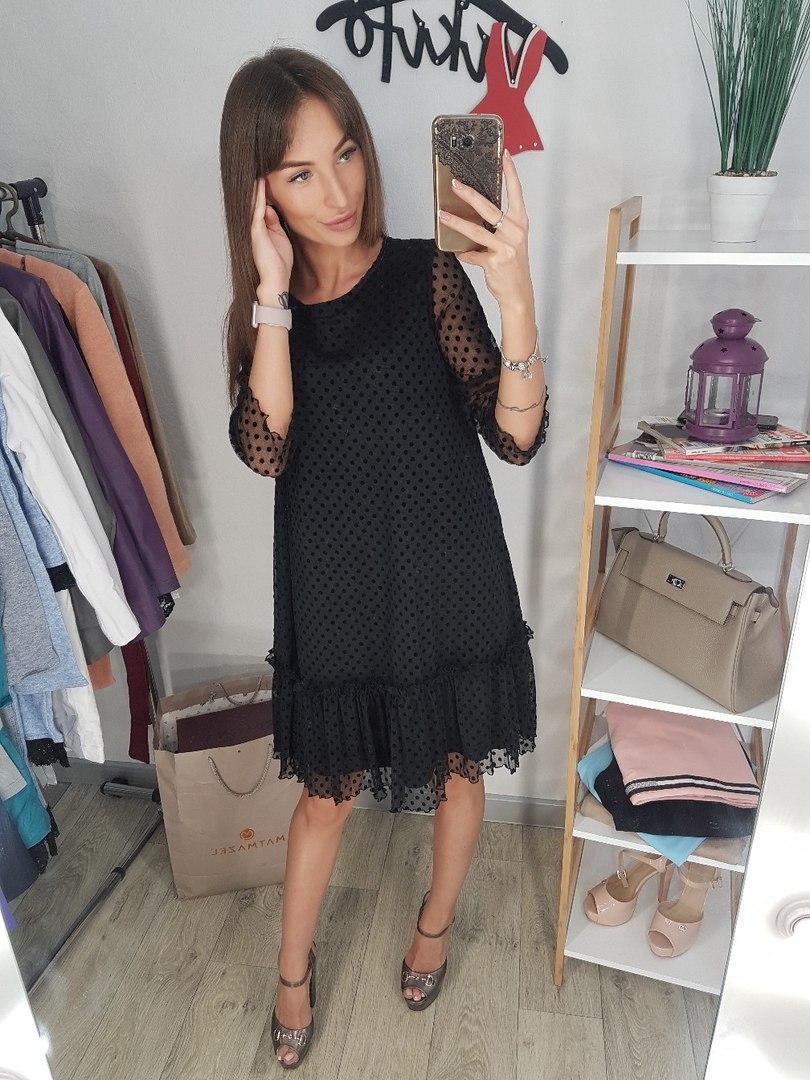 2fe828420b1 Расклешенное платье с сеткой в горошек 20PL198 - Интернет-магазин Tvid в  Харькове