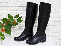Сапоги кожаные черного цвета на удобном каблуке хит продаж этого сезона
