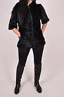 Жилетка женская вязаная из меха норки с капюшоном (цв.чёрный) 115 Размер:46,48,50,52,54,56