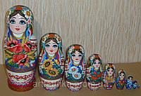 Украинская расписная матрёшка из 9-ти штук
