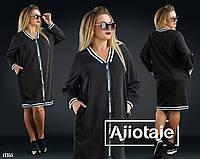 Платье в спортивном стиле с карманчиками-черный