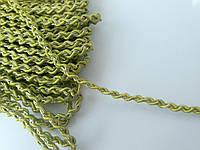 Тесьма декоративная Тасьма декоративна вузька плетена з люрексом оливкова 5 мм