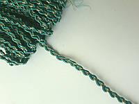 Тесьма декоративная Тасьма декоративна  вузька плетена з люрексом бірюза зелена 5 мм