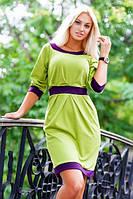 Платье-батал в двух тонах