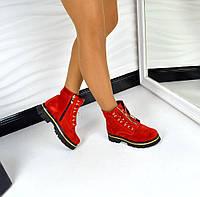 Замшевые красные ботинки
