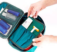 Дорожный органайзер для косметики с отстегивающимся кармашком ORGANIZE C011 зеленый
