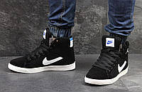 Зимние кроссовки Nike Jordan ,чёрные с белым