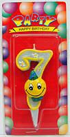 "Свеча цифра на торт ""Смайлик голубой - 8"""
