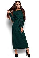 Женское платье в пол, трикотаж ангора, т/зелёное, размер 42-44