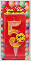 "Свеча цифра на торт ""Смайлик розовый - 6"""