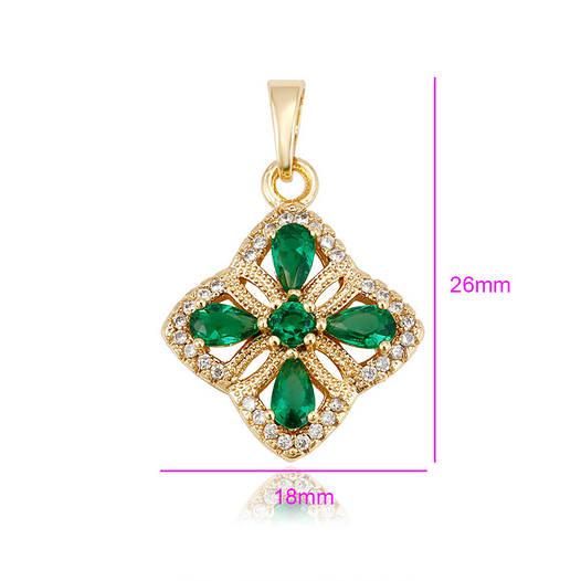 Кулон Ажурный Цветок, с зеленым цирконием, позолота