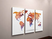Картина модульная карта мира 3 панели