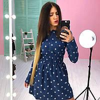 Джинсовое платье с кармашками