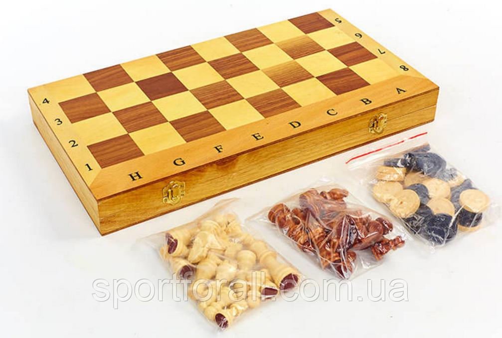 Шахматы, шашки, нарды 3 в 1 деревянные IG-СН-05 (фигуры-дерево, р-р доски 49см x 49см)