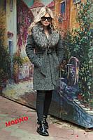 Пальто зимнее тёплое из турецкого кашемира на ватине и атласной подкладке мех чернобурка