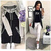Куртка стеганая с трикотажным рукавом , модель 768/2,  черная, фото 1