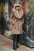 Пальто зимнее тёплое из турецкого кашемира на ватине и атласной подкладке мех натуральный енот