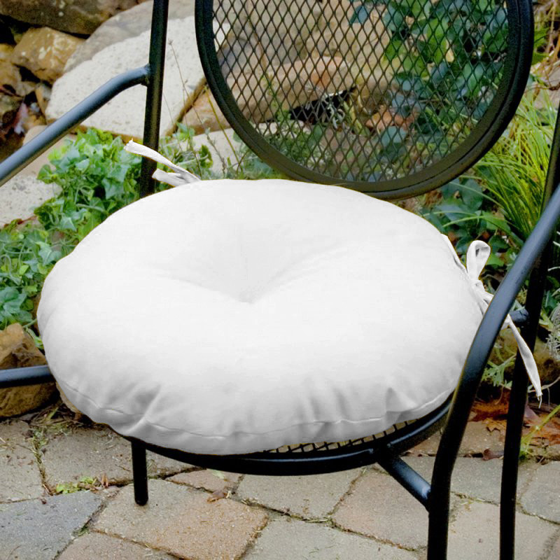 Декоративная подушка на стул модель 3 круглая, на завязках, Белый