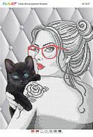 """Схема для часткової вишивки бісером """"Дівчина з кошеням"""""""