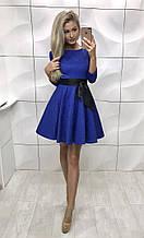 Женское платье, жаккард + подкладка + фатин, р-р 42-44; 44-46 (электрик)