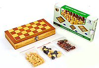 Шахматы, шашки, нарды 3 в 1 деревянные W2408 (фигуры-дерево, р-р доски 24см x 24см)
