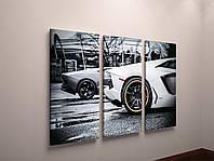 Настенный декор в интерьер Картина на холсте Черно-белая машина, Автомобиль, Колесо 90х60 из 3х модулей