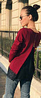 Блуза с шифоновой вставкой