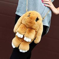 Меховая сумочка-рюкзак кролик-зайчик натуральный мех