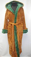 Мужской махровый халат  для отдыха M,L,XL,XXL,XXXL коричневый/зеленный
