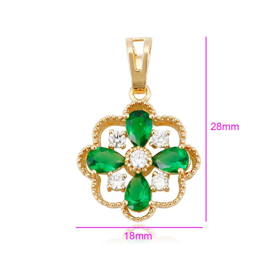 Кулон позолоченный, Ажурный цветок, с зеленым цирконием
