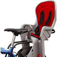 Велокресло детское с задним креплением и ремнями безопасности PROFI M 3133 Grey-Red