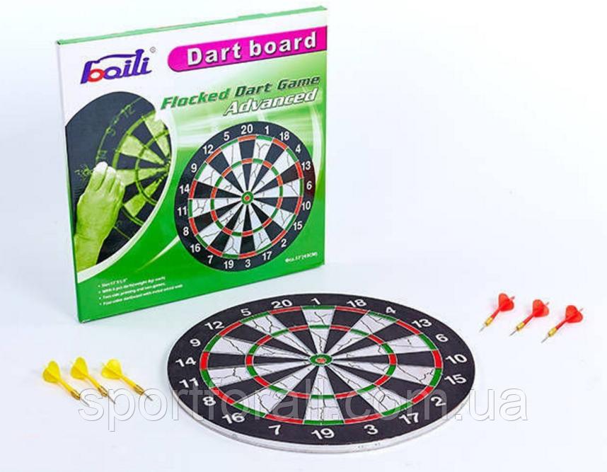 Мішень для гри в дартс з флока Flocked 17in Baili (d-43см, в комплекті 6 дротиків 6g)