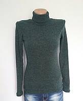 Женская водолазка шерсть-рубчик р. 40-50 зеленая, женские водолазки из шерсти-рубчик оптом от производителя