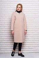 Бежевое женское демисезонное пальто из кашемира ил-10034