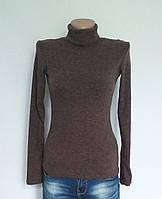 Женская водолазка шерсть-рубчик р. 40-50 коричневая, женские водолазки из шерсти-рубчик оптом от производителя