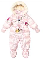 Зимний розовый зимний комбинезон для девочек Monnalisa