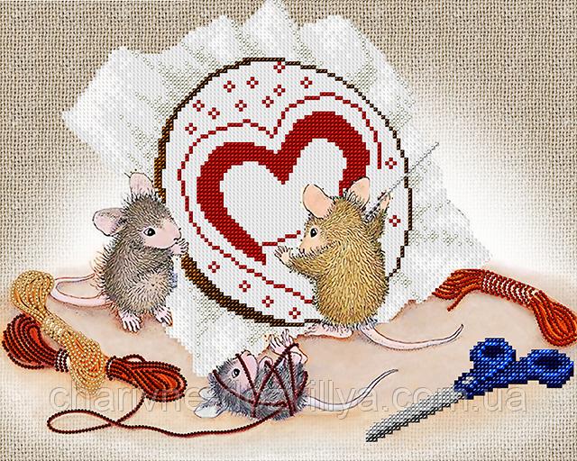 """Схема  для вышивки картины бисером на атласе """"Мышки рукодельницы"""""""